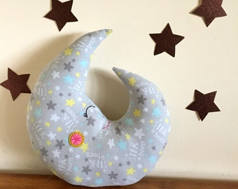 moon pillow, baby pillow, crescent moon, nursery, flannel cotton, baby gift, baby shower, gray nursery