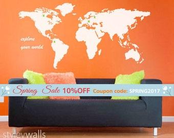 World Map Wall Decal, World Map Home Decor Living Room Decor, World Map Office Wall Decal Decor Wall Sticker, World Map Wall Sticker