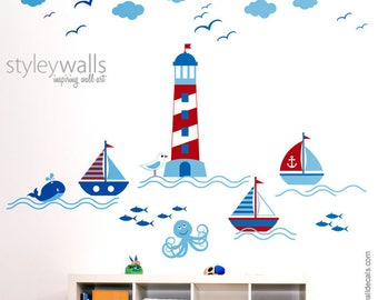 Nautical Wall Decal, Sailboat Wall Decal, Sailor Boat Wall Sticker, Nautical Nursery Wall Decal, Sailboat Room Decor, Light Tower Wall Decal