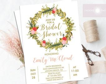 Bridal Shower Invitation, Bridal Shower Invites, Wreath Invite, Coral, Printable Shower, Wedding Invites, DIY, Digital File, jadorepaperie