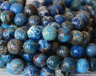 8mm Round Aqua Terra Beads - Imperial Jasper Beads - Jewelry Making Supply - Blue - CHOOSE AMOUNT