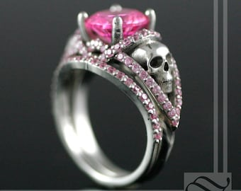 Silver Skull Ring in Sterling and pink Cubic Zirconia -  with white and black CZ also available
