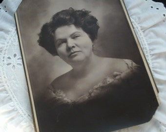 Vintage Woman Photograph, Edwardian, 6 in. x 8 in. Formal Picture, Sepia Photograph, Ephemera