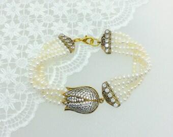 White Pearl Jewelry, Sapphire Gemstone,  Tulip Bracelet, Cubic Zircon, Traditional Bracelet