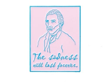 Van Gogh Enamel Pin. The Sadness Will Last Forever Pink and Blue Lapel Pin.