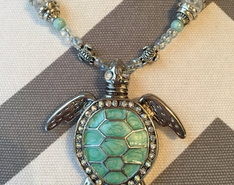 Sea Turtle Beaded Necklace with seafoam beads and silver trims