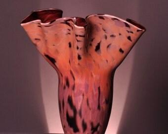 Original Hand Blown Fluted Glass Vase in