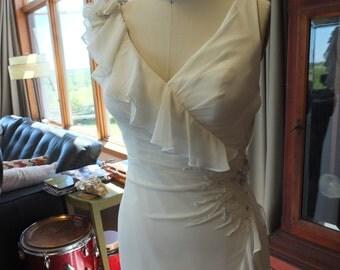 Chiffon wrapped wedding dress bridal gown high fashion rufles