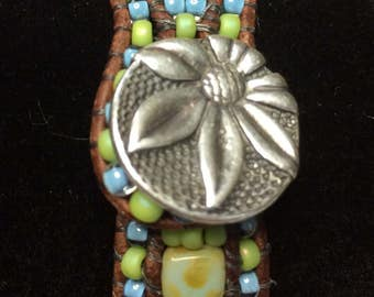 Turquoise Blue Lime Green Czech Glass Tile  Brown Leather Beaded Bracelet