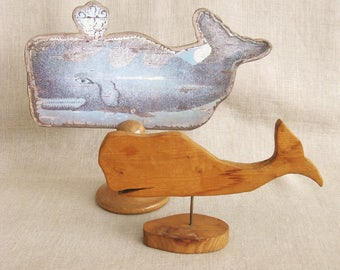 Vintage Folk Art Whale Carving, Carved Wood Fish, Pod, Ocean Animals, Handmade, OOAK, Primitive, Rustic, Ocean Life, Whale Watching, Aquatic