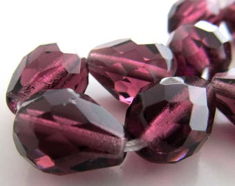 S/O for Cindy Czech Glass Beads 13 x 10mm Amethyst Purple Faceted Teardrops - 36 Pieces