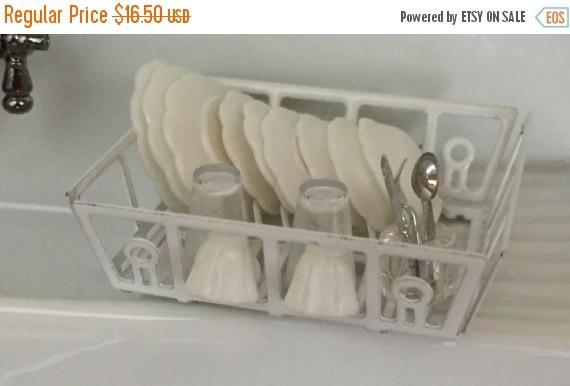 SALE Miniature White Filled Dish Drainer, Mini Dish Rack, Dollhouse Miniature, 1:12 Scale, Dollhouse Kitchen, Accessory, Dish Rack With Dish