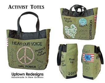 Activist Tote - Peaceful Protest - Upcycled, Recycled, Canvas, Leather - Graffiti, Slogans, Unity, Equality, Compassion