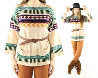 Vintage 70s Sweater Bell Sleeves Hippie Southwestern Indian Blanket Pullover Ivory Long Sleeve Knit Tunic Blouse 1970s Medium M Large L