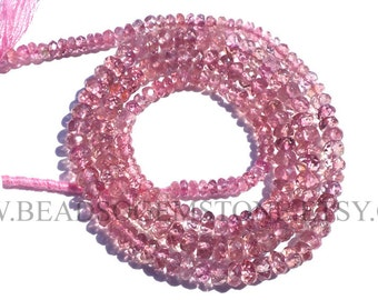 Pink Tourmaline Faceted Rondelle (Quality AA) / 2.60 to 3.80 mm / 36 cm / TOUR-009