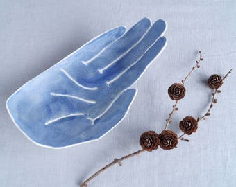 PALM bowl large size, porcelain ceramic bowl, matt blue glaze, candle holder, bathroom accessory, palmistry, fruit bowl, bits and bobs