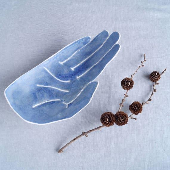 Large porcelain PALM bowl large size, ceramic bowl, matt blue glaze, candle holder, bathroom accessory, palmistry, fruit bowl, bits and bobs