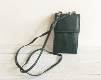 Vintage 90s leather purse, crossbody bag, clutch, wallet, green leather, iphone, concert purse