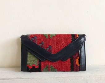 vintage kilim wallet purse, woven cross body small bag,