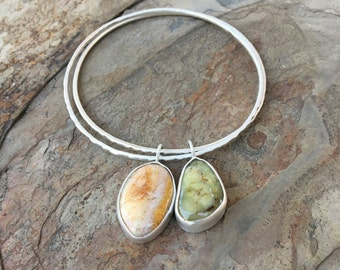 Graveyard Plume Agate and Green Opalite Bangle. Handmade Jewelry for Charity. BC8