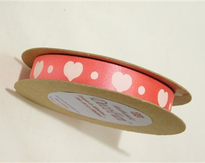 Pink & White Heart Valentine Printed Satin Ribbon 1 inch, non-fray edge, Charles Clay Nature's Choice Biodegradable Ribbon, Made in England