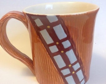 Wheel thrown, carved, and hand painted ceramic pottery tea or coffee mug or cup. Star Wars chewbacca wookiee design