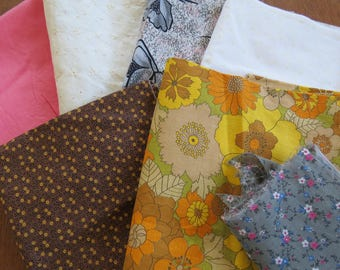 Vintage Sewing Fabric Lot - 4+ yards in 7 pieces