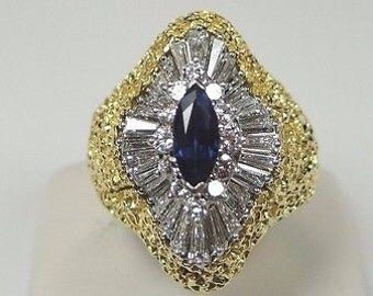 Estate Sapphire Engagement Ring Platinum 18K Yellow Gold Ring | RE-926