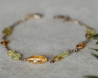 Citrine Bracelet for Women, Citrine and Garnet Bracelet, Gemstone Bracelet, Birthstone Jewelry, Handmade Jewelry