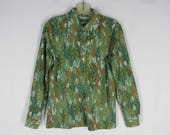 70s Disco Shirt M Green Trees Jersey Knit Fitted Long Sleeve