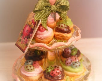 12th Scale Doll House 2 Tiered Stand Of Easter Spring Cupcakes
