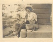 Woman Hat Long Skirt White Blouse Wicker Baskets Flower Camera Vintage Antique Photograph Snaps