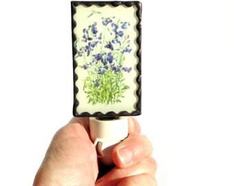 Flower night light, stained glass lighting, photo night light, blue flower, plug in night light, hallway light, bathroom light, lobelia