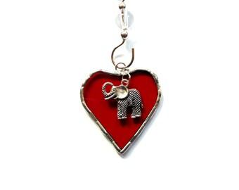 Elephant ornament, I love elephants charm, stained glass suncatcher, elephant theme, mini red heart, elephant decor, window decoration,