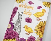 SALE - Baby Congratulations Letterpress card  - Baby Bunnies & Chicks - 60% off
