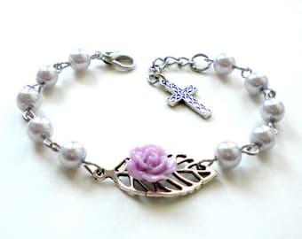 First Holy Communion Bracelet Baptism Gift Girl Baby Blessing Gift Flower Christening Gift Lavender Pearl Bracelet Baby Cross Bracelet