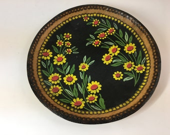 Vintage Wood burned and hand painted floral folk art wall hanging or  bowl