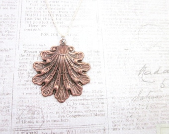Shell Charm Necklace -- Brown Shell Necklace -- Copper Shell Necklace -- Metal Shell Pendant Necklace -- Copper Charm Necklace -- Ocean
