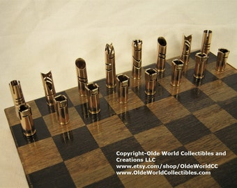 223 Bullet Shell chess pieces. Optional 9 inch copper banded wooden board #1120160031  -Free Shipping to U.S.