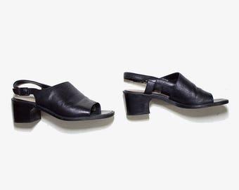 FLASH SALE Vintage Leather Mules 7 / Black Leather Mules / Slingback Sandals / Peep Toe Mules / Slingback Mules