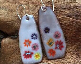 Flower Earrings Enamel Floral Copper with Sterling Handmade Ear Wires Flowers Multicolor Summer Jewelry Earrings