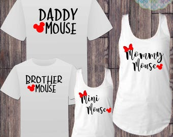 Matching Disney Family Vacation Tshirts - Daddy Mickey Mommy Minnie Mouse - Disney Inspired - Matching Vacation Shirts - Minnie Mouse