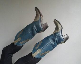 Vintage JUSTIN Teal Grey Custom COWBOY Western Leather Boot size US 7