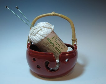 Red Yarn Bowl with Bamboo Handle, Craft Storage, Organizer - IN STOCK