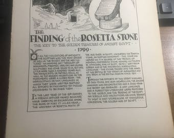 Finding the rosetta stone 1933 book page history print illustration . Art frameable history