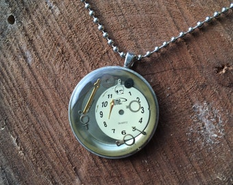 Upcycled Watch Parts Pendant Necklace