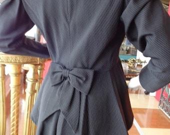 HOLIDAY SALE Vintage Black Orsina of Paris 40's style Viscose Peplum Skirt Suit