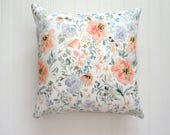 Peach Floral Watercolor Pillow Cover, Designer Fabric Pillow Cover, Various Sizes