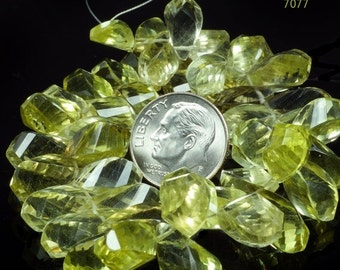 ON SALE Lemon Quartz Twisted Teardrop Step Faceted Fancy Cut Briolettes Mined Gemstone - 3.5 Inch Strand - About 23 Beads - 10x7 to 15x8mm