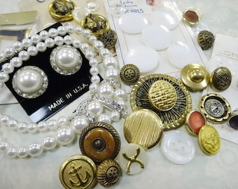 Beads Baubles Buttons Vintage Romantic Project Findings Embellishment lot